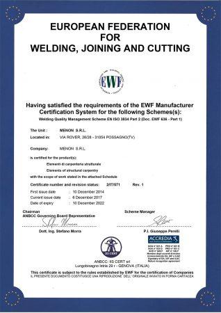 Steel Construction Certifications - Menon Builders